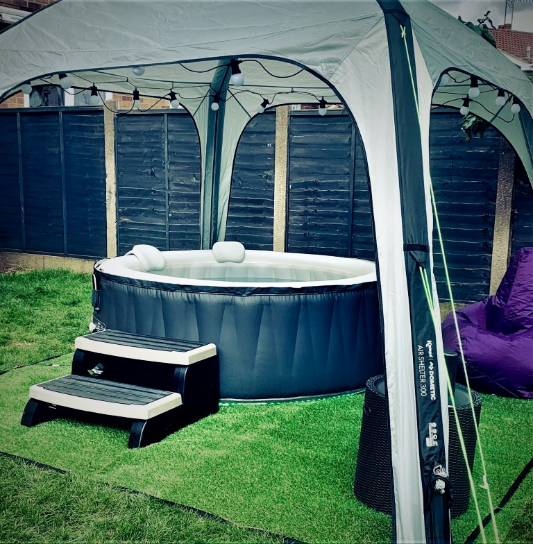 inflatable hot tub with purple beanbag