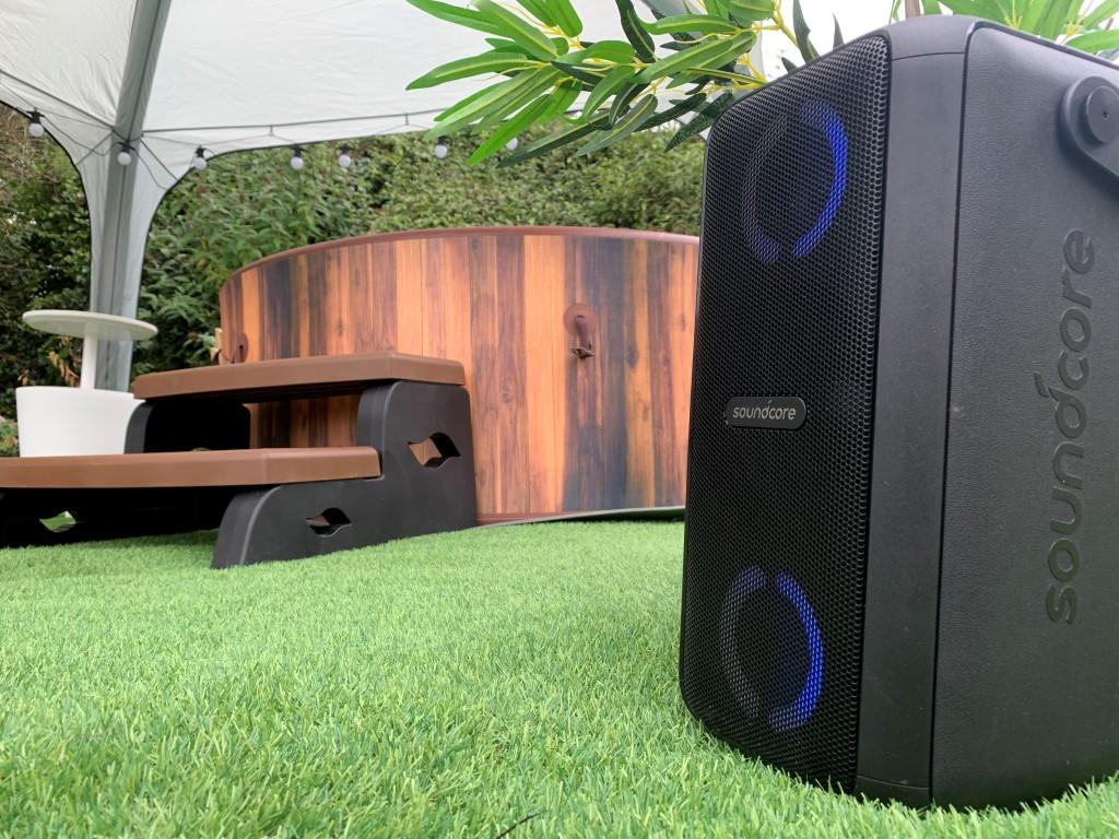 Indulgence hot tub with gazebo and music speaker
