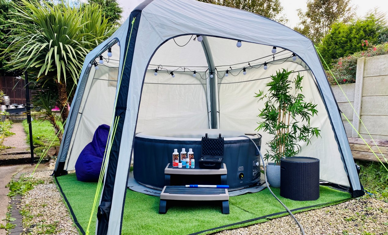 inflatable hot tub with a gazebo